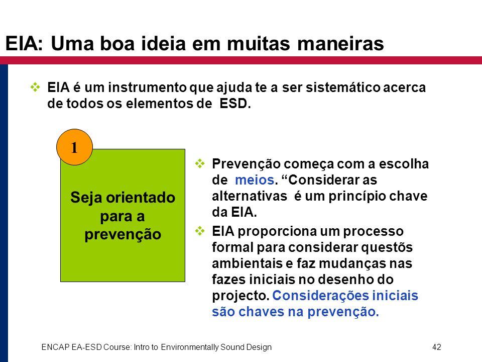 ENCAP EA-ESD Course: Intro to Environmentally Sound Design42 EIA: Uma boa ideia em muitas maneiras EIA é um instrumento que ajuda te a ser sistemático