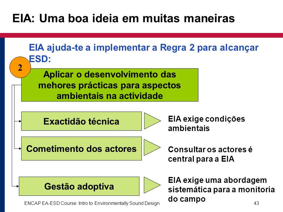 ENCAP EA-ESD Course: Intro to Environmentally Sound Design43 EIA: Uma boa ideia em muitas maneiras Aplicar o desenvolvimento das mehores prácticas par