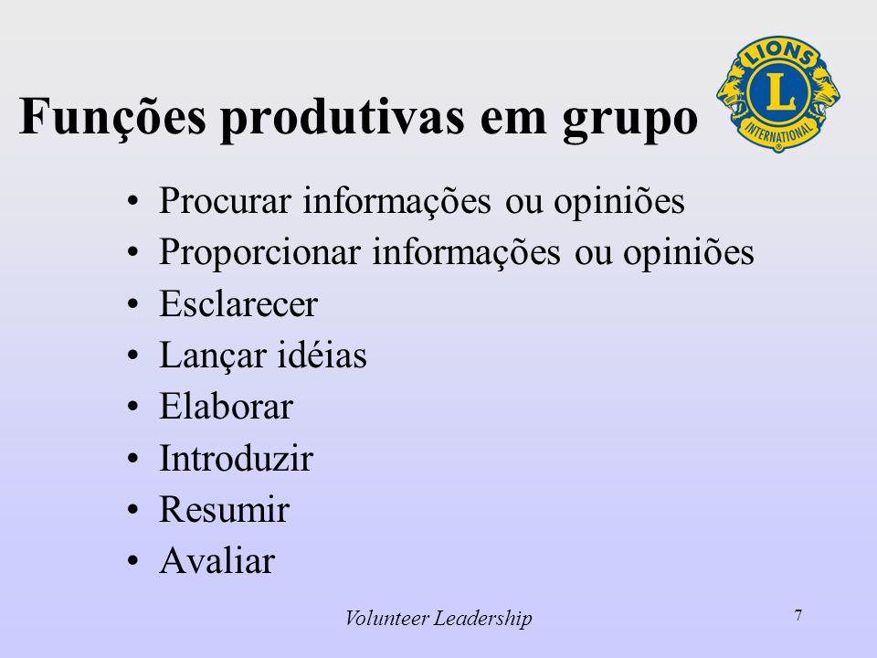 Volunteer Leadership 7 Funções produtivas em grupo Procurar informações ou opiniões Proporcionar informações ou opiniões Esclarecer Lançar idéias Elaborar Introduzir Resumir Avaliar