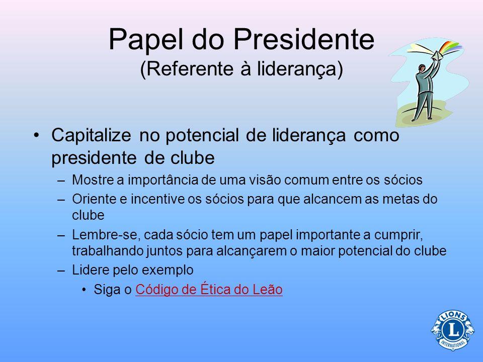 Papel do Presidente (Referente à liderança) Utilize experiências anteriores e recursos disponíveis para capitalizar no potencial de liderança. Isso si