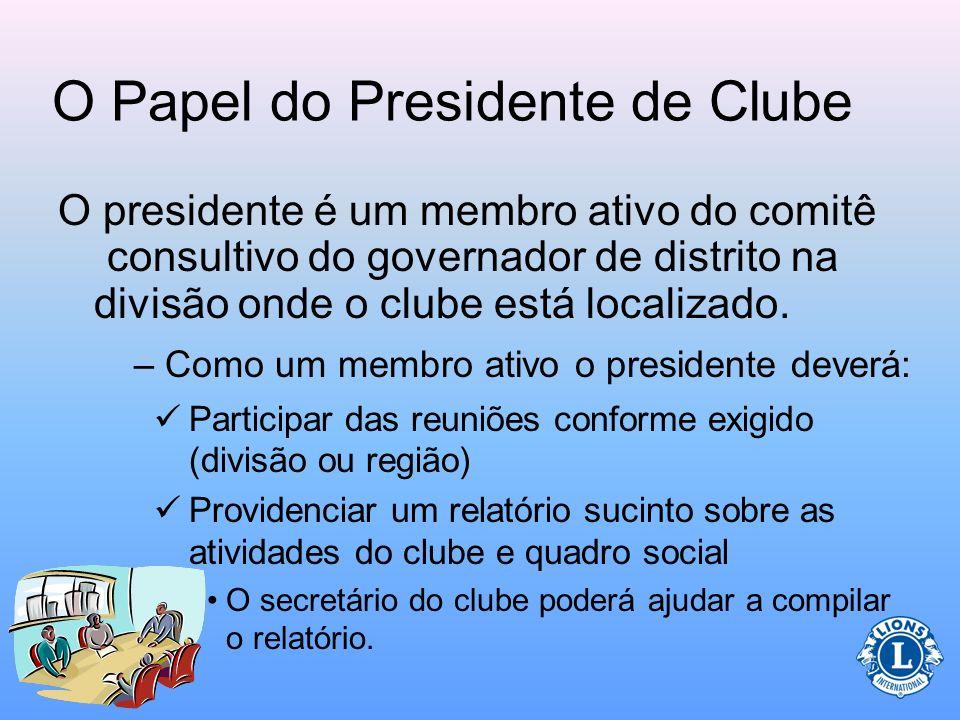 O Papel do Presidente de Clube O presidente do clube preside todas as reuniões da diretoria, como também as do clube. –Durante as reuniões existem mui