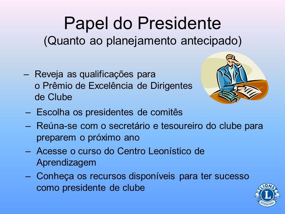 Papel do Presidente (Quanto ao planejamento antecipado) Antes do início do mandato do presidente de clube, ele deverá: –Entender sobre motivação e nec