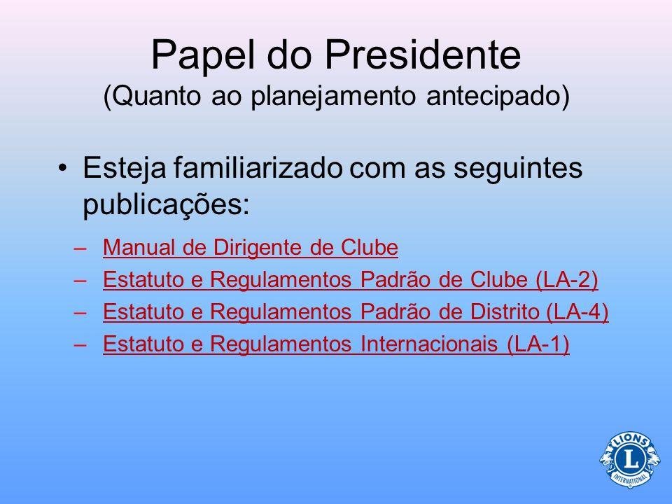 Papel do Presidente (Quanto ao planejamento antecipado) –Escolha os presidentes de comitês –Reúna-se com o secretário e tesoureiro do clube para prepa