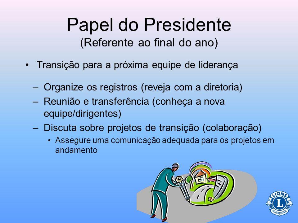 Papel do Presidente (Referente ao final do ano) Homenageie o seu clube pelo trabalho árduo durante o ano –Oportunidades de oferecer reconhecimento: Tí