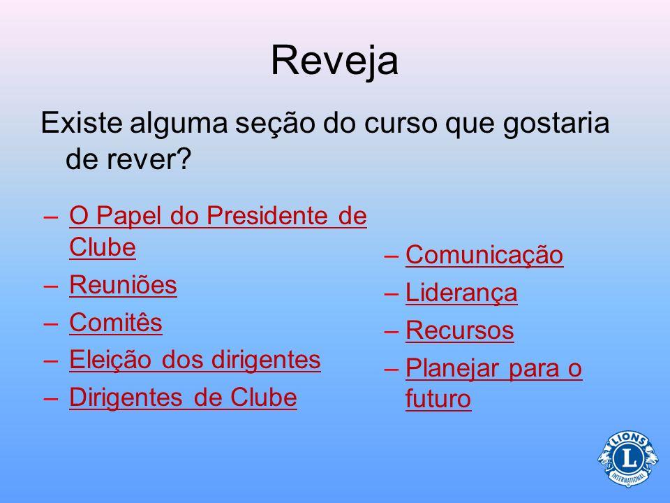 Papel do Presidente (Referente ao final do ano) Transição para a próxima equipe de liderança –Organize os registros (reveja com a diretoria) –Reunião