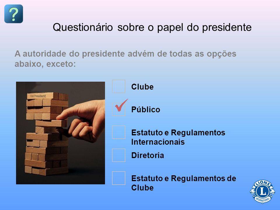 Questionário sobre o papel do presidente O presidente é _____________ do clube. autoridade principal dirigente operacional principal dirigente executi