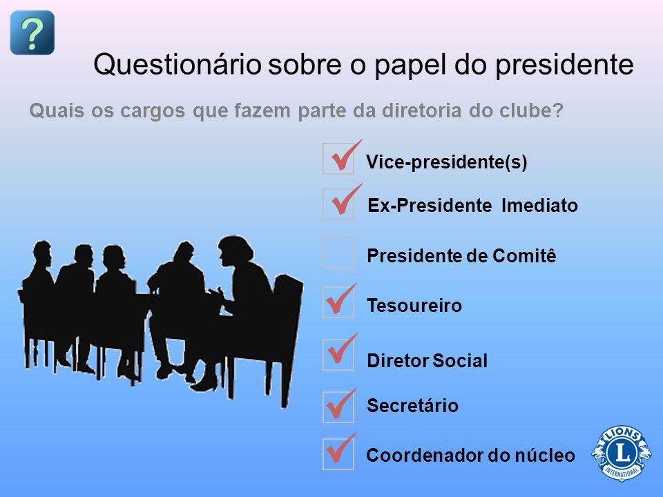 Questionário sobre o papel do presidente O clube poderá ter uma regra que contradiz o Estatuto e Regulamentos Internacionais Verdadeiro Falso Qualquer