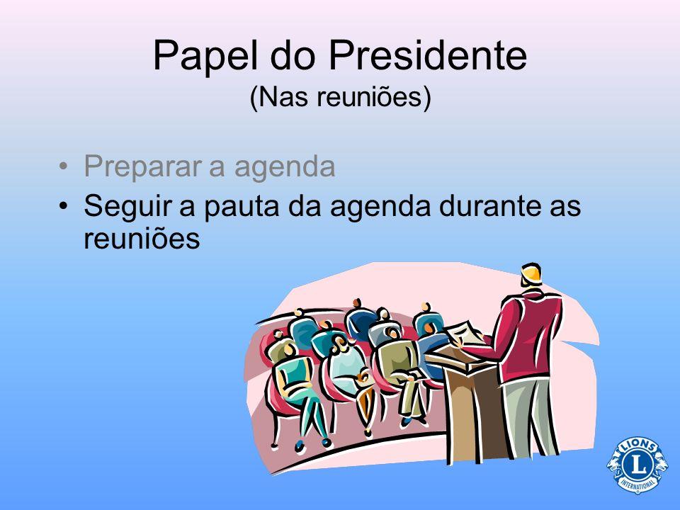 Papel do Presidente (Nas reuniões) –Relatório do tesoureiro –Qualquer assunto anterior que não foi finalizado –Novos assuntos –Encerramento pelo presi
