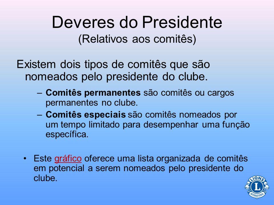 Deveres do Presidente (Relativos aos comitês) É o dever do presidente de clube nomear um comitê permanente e especial para o clube