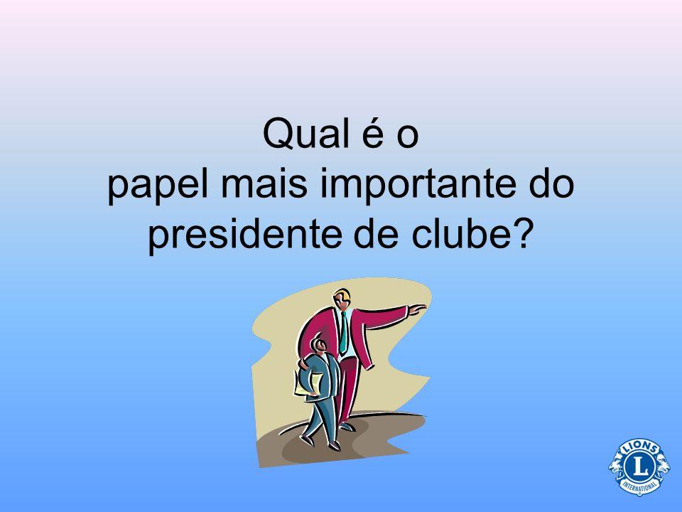 Papel do Presidente (Relativo aos dirigentes de clube) O presidente, vice-presidente, secretário e tesoureiro trabalham juntos para administrarem um clube eficaz e produtivo.