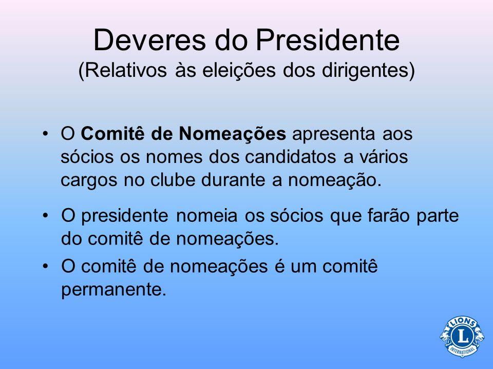 Deveres do Presidente (Relativos às eleições dos dirigentes) O presidente é responsável pela escolha do comitê de nomeações. Assegurar que as eleições