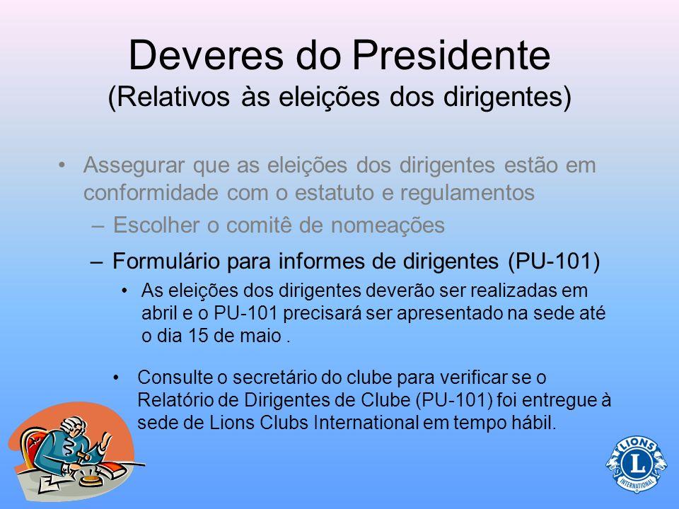 Deveres do Presidente (Relativos às eleições dos dirigentes) O Comitê de Nomeações apresenta aos sócios os nomes dos candidatos a vários cargos no clu