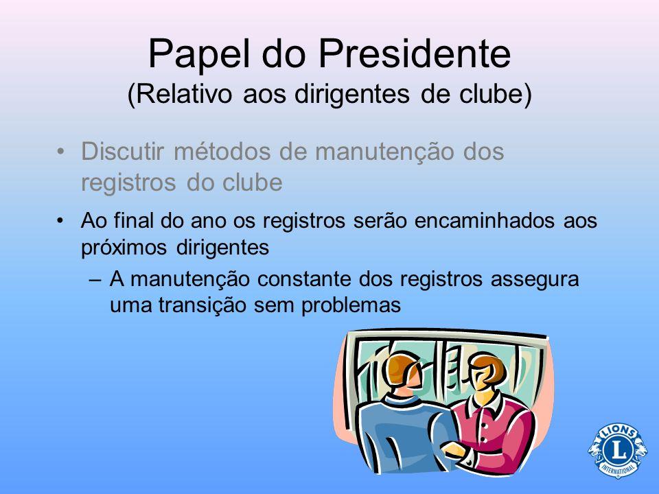 Papel do Presidente (Relativo aos dirigentes de clube) Os dirigentes do clube deverão se reunir antes ou no início do ano para discutirem como as atas