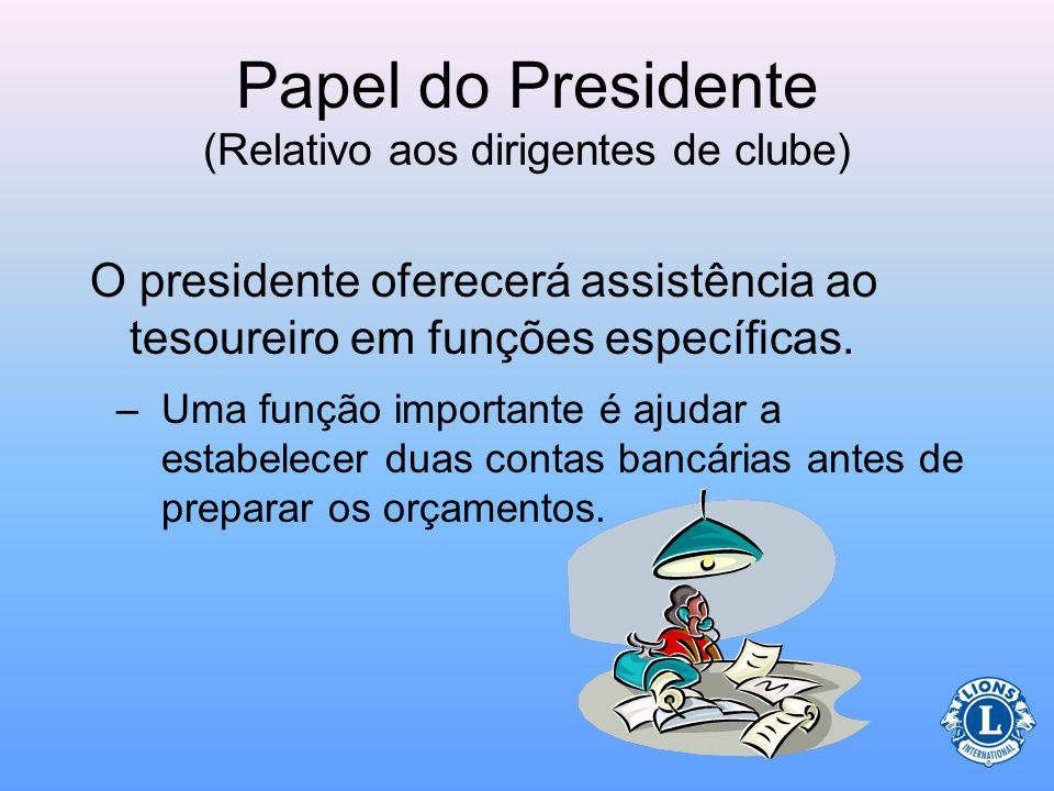 Papel do Presidente (Relativo aos dirigentes de clube) Discutir métodos de manutenção dos registros do clube Ao final do ano os registros serão encami