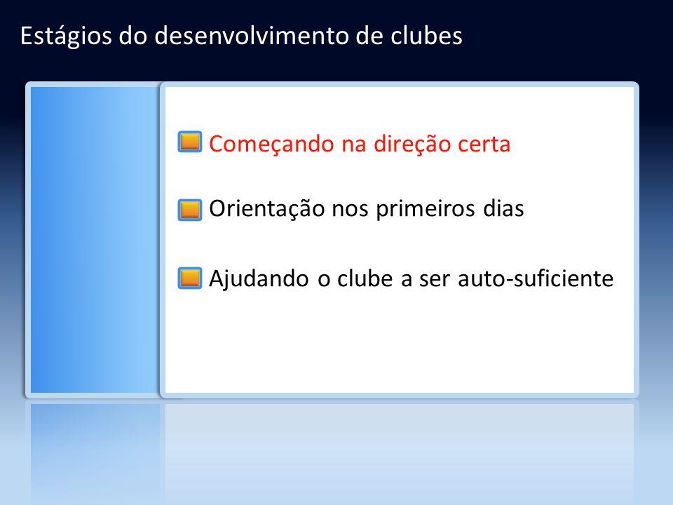 Estágios do desenvolvimento de clubes Começando na direção certa Orientação nos primeiros dias Ajudando o clube a ser auto-suficiente