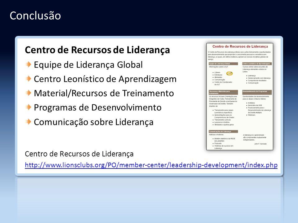 Conclusão Centro de Recursos de Liderança Equipe de Liderança Global Centro Leonístico de Aprendizagem Material/Recursos de Treinamento Programas de D