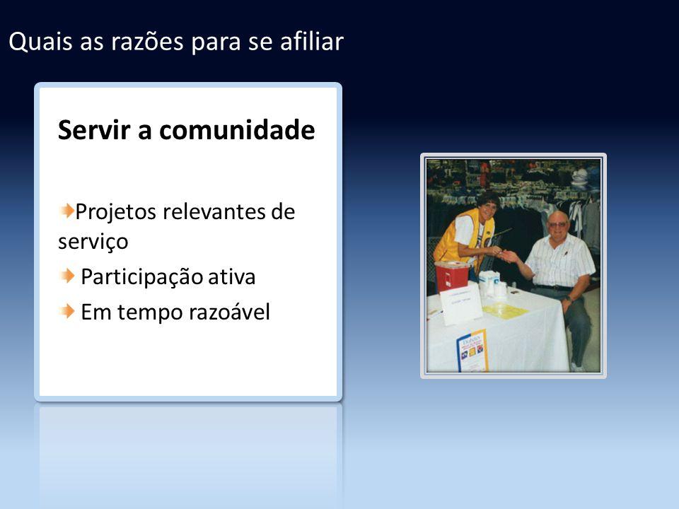 Quais as razões para se afiliar Servir a comunidade Projetos relevantes de serviço Participação ativa Em tempo razoável