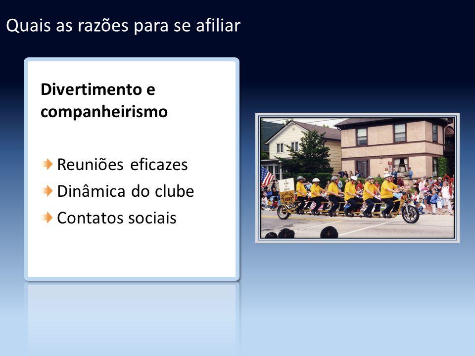 Divertimento e companheirismo Reuniões eficazes Dinâmica do clube Contatos sociais Quais as razões para se afiliar