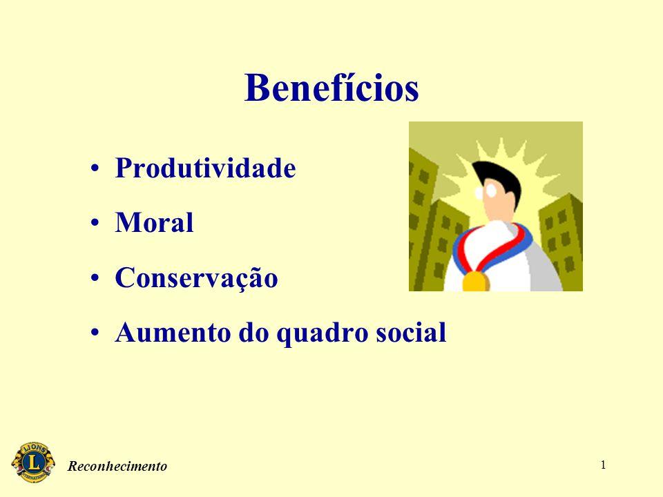 Reconhecimento 1 Benefícios Produtividade Moral Conservação Aumento do quadro social
