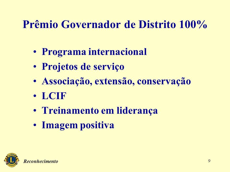 Reconhecimento 9 Prêmio Governador de Distrito 100% Programa internacional Projetos de serviço Associação, extensão, conservação LCIF Treinamento em l