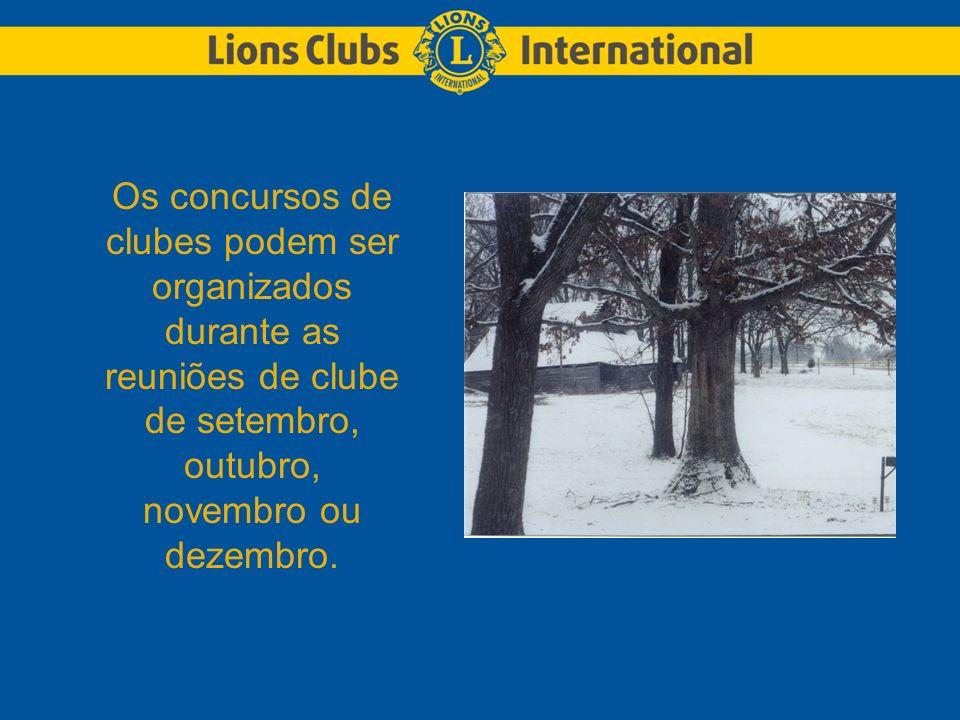 Os concursos de clubes podem ser organizados durante as reuniões de clube de setembro, outubro, novembro ou dezembro.