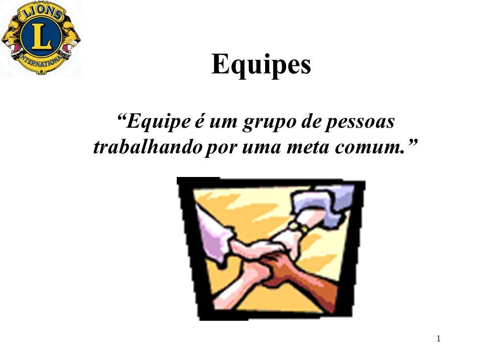1 Equipes Equipe é um grupo de pessoas trabalhando por uma meta comum.