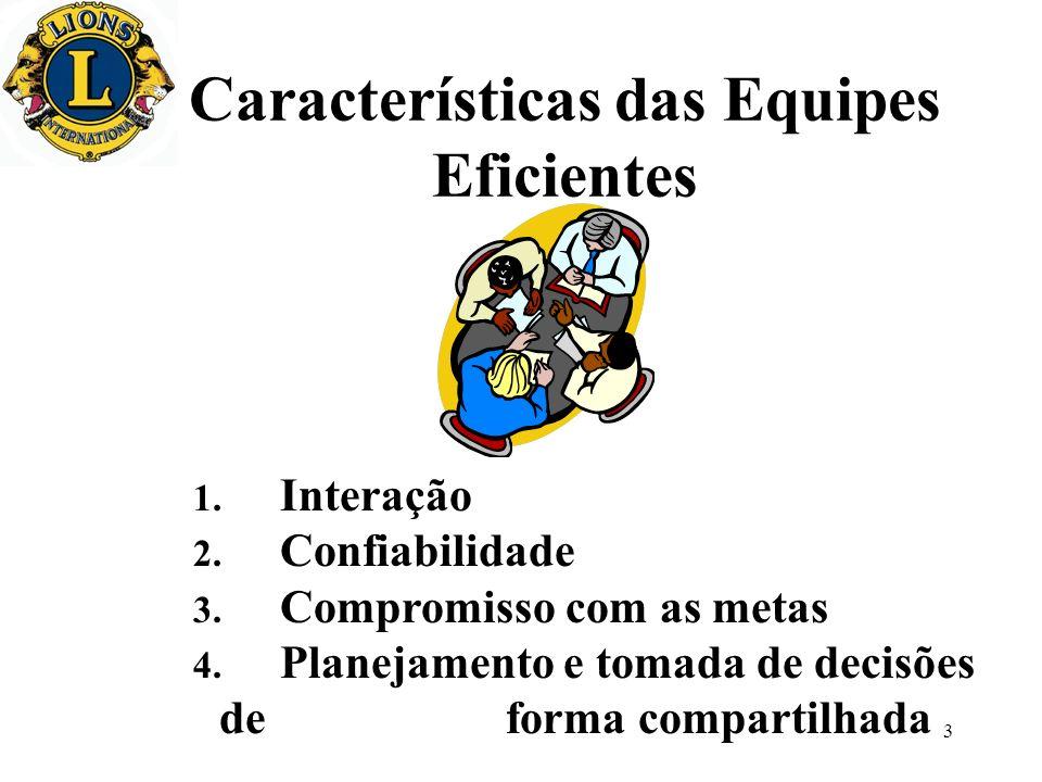 3 Características das Equipes Eficientes 1. Interação 2. Confiabilidade 3. Compromisso com as metas 4. Planejamento e tomada de decisões de forma comp