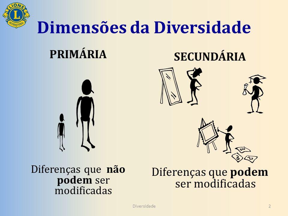 Dimensões da Diversidade PRIMÁRIA Diferenças que não podem ser modificadas SECUNDÁRIA Diferenças que podem ser modificadas Diversidade2