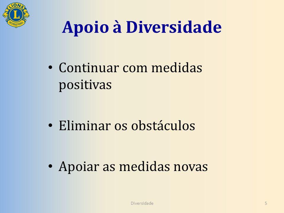 Apoio à Diversidade Continuar com medidas positivas Eliminar os obstáculos Apoiar as medidas novas Diversidade5