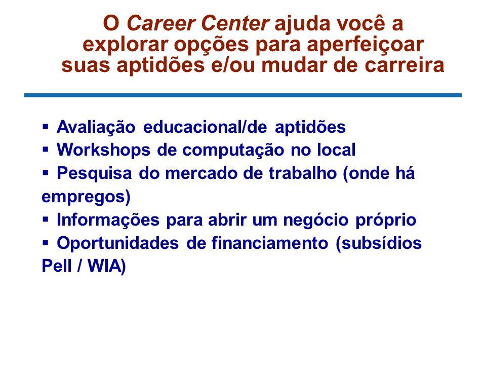 O Career Center ajuda você a explorar opções para aperfeiçoar suas aptidões e/ou mudar de carreira Avaliação educacional/de aptidões Workshops de computação no local Pesquisa do mercado de trabalho (onde há empregos) Informações para abrir um negócio próprio Oportunidades de financiamento (subsídios Pell / WIA)