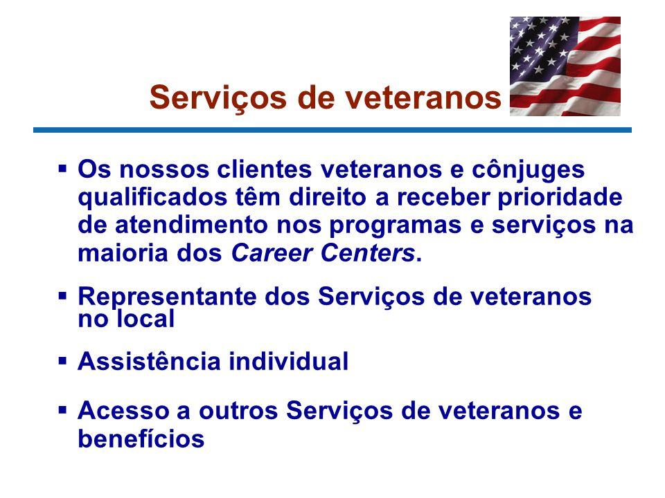 Serviços de veteranos Os nossos clientes veteranos e cônjuges qualificados têm direito a receber prioridade de atendimento nos programas e serviços na maioria dos Career Centers.
