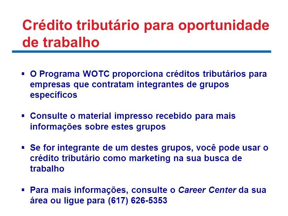 O Programa WOTC proporciona créditos tributários para empresas que contratam integrantes de grupos específicos Consulte o material impresso recebido p