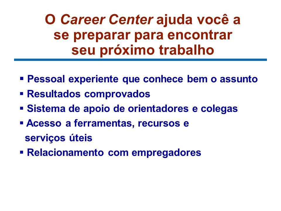 O Career Center ajuda você a se preparar para encontrar seu próximo trabalho Pessoal experiente que conhece bem o assunto Resultados comprovados Siste