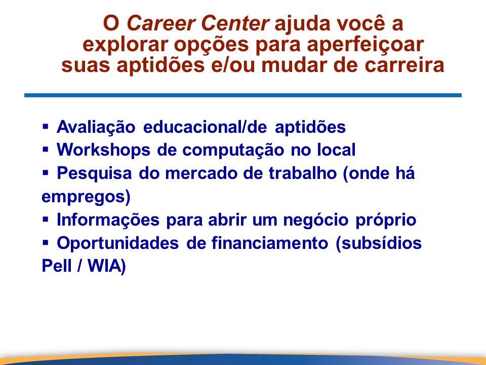 O Career Center ajuda você a explorar opções para aperfeiçoar suas aptidões e/ou mudar de carreira Avaliação educacional/de aptidões Workshops de comp