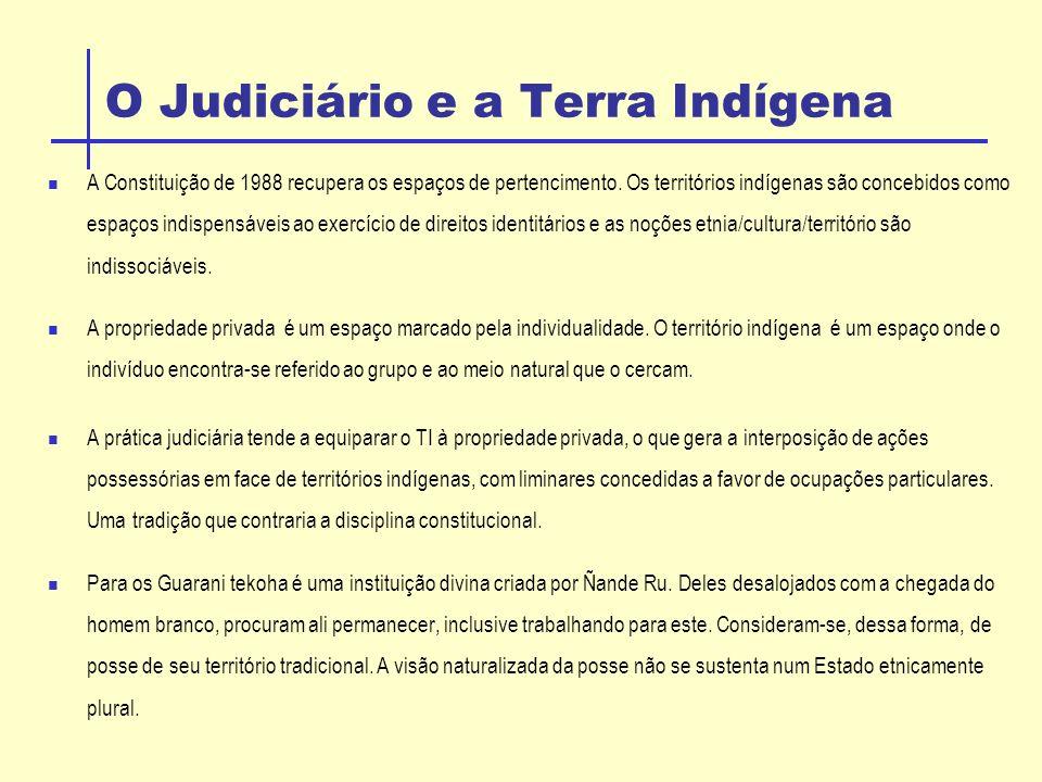 O Judiciário e a Terra Indígena A Constituição de 1988 recupera os espaços de pertencimento.