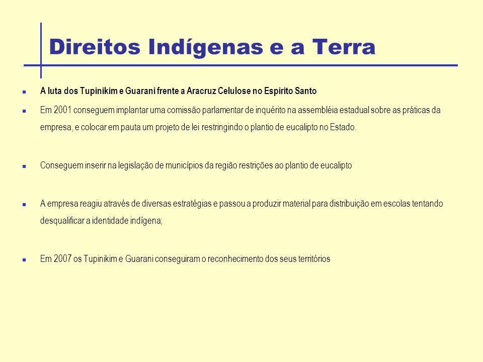 Direitos Indígenas e a Terra A luta dos Tupinikim e Guarani frente a Aracruz Celulose no Espirito Santo Em 2001 conseguem implantar uma comissão parlamentar de inquérito na assembléia estadual sobre as práticas da empresa, e colocar em pauta um projeto de lei restringindo o plantio de eucalipto no Estado.