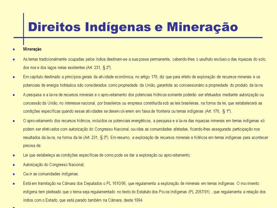 Direitos Indígenas e Mineração Mineração As terras tradicionalmente ocupadas pelos índios destinam-se a sua posse permanente, cabendo-lhes o usufruto exclusivo das riquezas do solo, dos rios e dos lagos nelas existentes (Art.