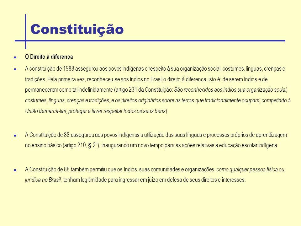 Constituição O Direito à diferença A constituição de 1988 assegurou aos povos indígenas o respeito à sua organização social, costumes, línguas, crenças e tradições.