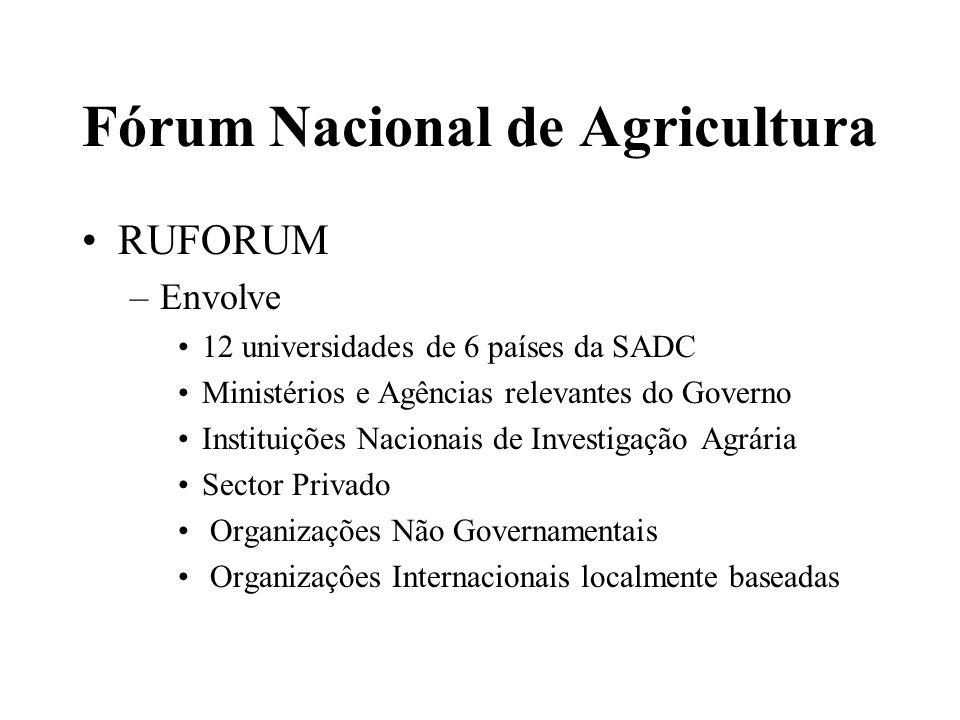 Fórum Nacional de Agricultura FANRPAN –1994 – Criação –Objectivo – Assegurar uma SADC livre da insegurança alimentar –A pesquisa está orientada para melhorar a capacidade de formulação, análise e implementação de políticas para Alimentação, Agricultura e Recursos Naturais na SADC –Tem o Secretariado Regional em Pretória
