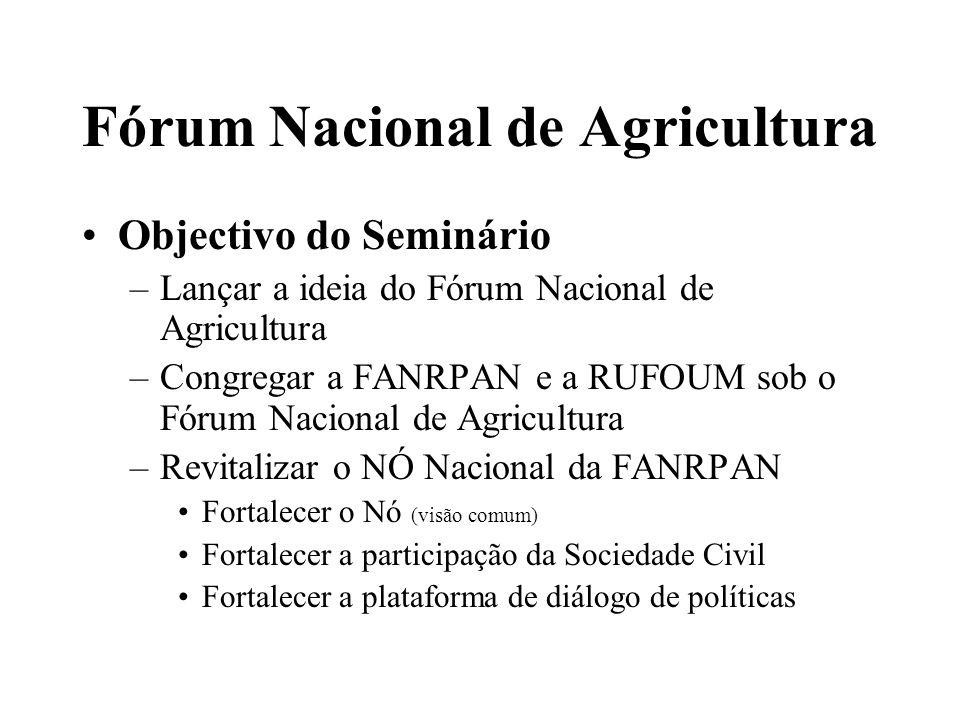 Fórum Nacional de Agricultura Organigrama Proposto CONSELHO COMITÉ DIRECTIVO ADMINISTRAÇÃO E FINANÇAS MONITORIA E AVALIAÇÃO COMITÉ TÉCNICO FANRPAN RUFORUM COORDENADOR