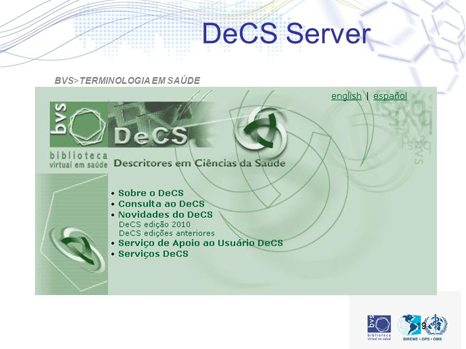 19 BVS>TERMINOLOGIA EM SAÚDE DeCS Server