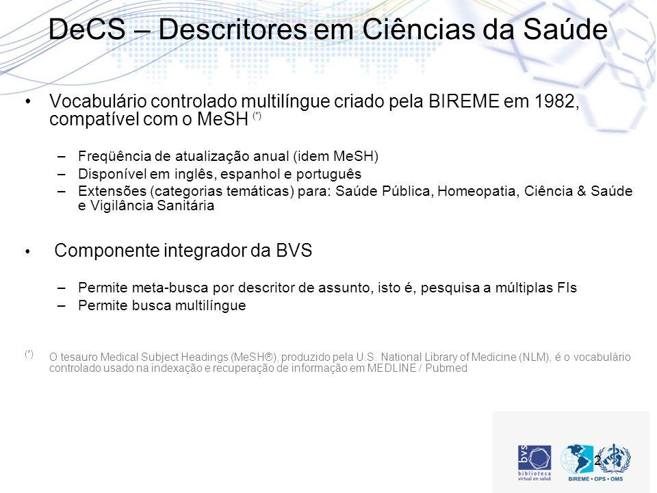 2 DeCS – Descritores em Ciências da Saúde Vocabulário controlado multilíngue criado pela BIREME em 1982, compatível com o MeSH (*) –Freqüência de atualização anual (idem MeSH) –Disponível em inglês, espanhol e português –Extensões (categorias temáticas) para: Saúde Pública, Homeopatia, Ciência & Saúde e Vigilância Sanitária Componente integrador da BVS –Permite meta-busca por descritor de assunto, isto é, pesquisa a múltiplas FIs –Permite busca multilíngue (*) O tesauro Medical Subject Headings (MeSH®), produzido pela U.S.