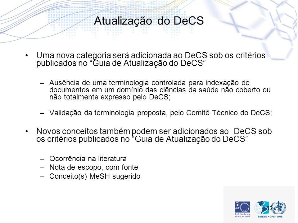 32 Atualização do DeCS Uma nova categoria será adicionada ao DeCS sob os critérios publicados no Guia de Atualização do DeCS –Ausência de uma terminologia controlada para indexação de documentos em um domínio das ciências da saúde não coberto ou não totalmente expresso pelo DeCS; –Validação da terminologia proposta, pelo Comitê Técnico do DeCS; Novos conceitos também podem ser adicionados ao DeCS sob os critérios publicados no Guia de Atualização do DeCS –Ocorrência na literatura –Nota de escopo, com fonte –Conceito(s) MeSH sugerido