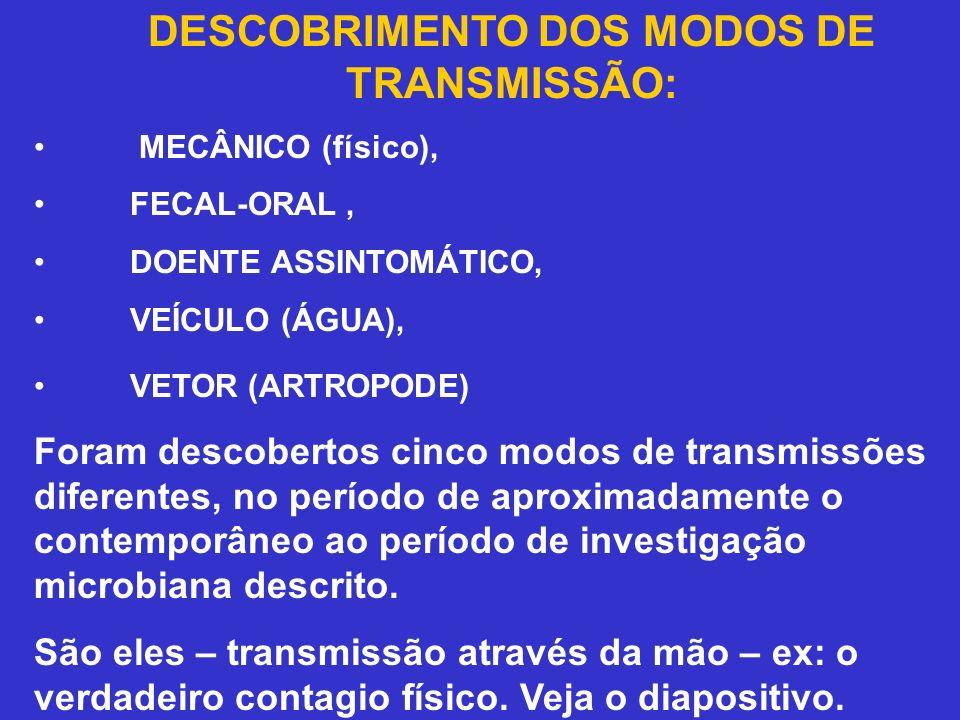 DESCOBRIMENTO DOS MODOS DE TRANSMISSÃO: MECÂNICO (físico), FECAL-ORAL, DOENTE ASSINTOMÁTICO, VEÍCULO (ÁGUA), VETOR (ARTROPODE) Foram descobertos cinco