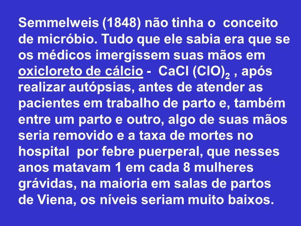 Semmelweis (1848) não tinha o conceito de micróbio. Tudo que ele sabia era que se os médicos imergissem suas mãos em oxicloreto de cálcio - CaCl (ClO)