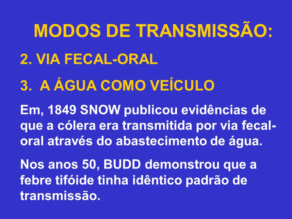 MODOS DE TRANSMISSÃO: 2.VIA FECAL-ORAL 3.