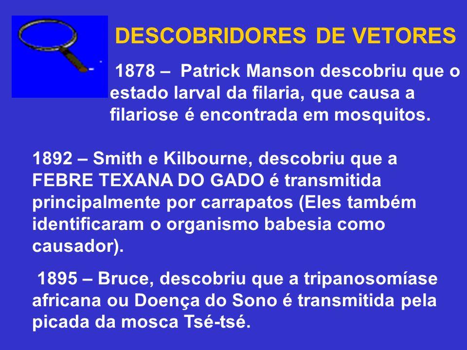 DESCOBRIDORES DE VETORES 1878 – Patrick Manson descobriu que o estado larval da filaria, que causa a filariose é encontrada em mosquitos. 1892 – Smith