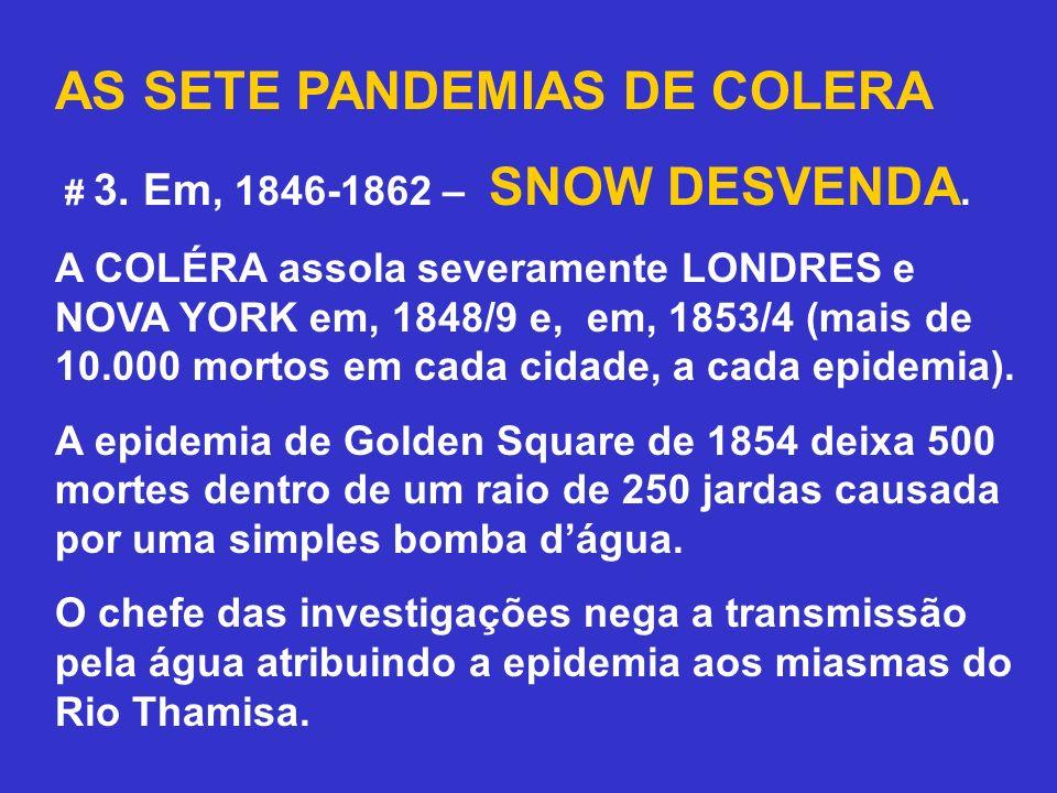 AS SETE PANDEMIAS DE COLERA # 3. Em, 1846-1862 – SNOW DESVENDA. A COLÉRA assola severamente LONDRES e NOVA YORK em, 1848/9 e, em, 1853/4 (mais de 10.0