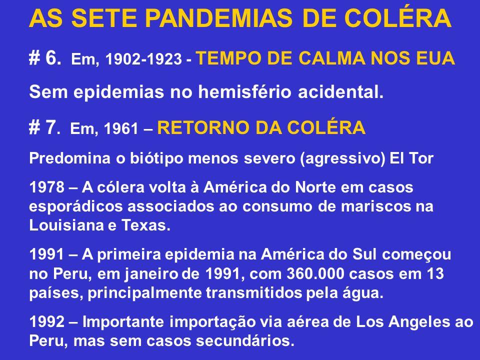 AS SETE PANDEMIAS DE COLÉRA # 6. Em, 1902-1923 - TEMPO DE CALMA NOS EUA Sem epidemias no hemisfério acidental. # 7. Em, 1961 – RETORNO DA COLÉRA Predo