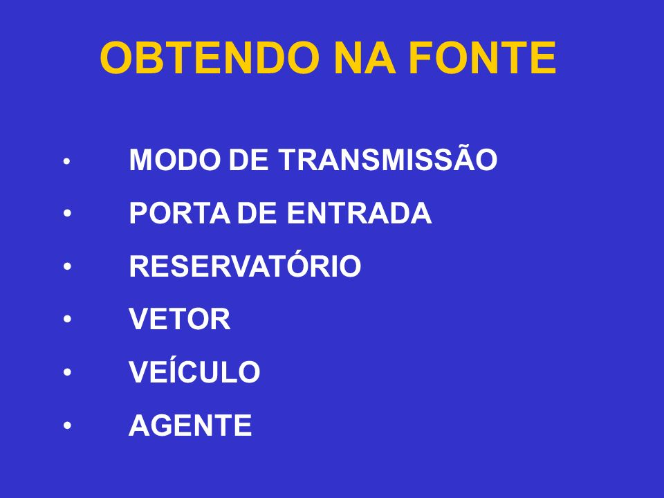 OBTENDO NA FONTE MODO DE TRANSMISSÃO PORTA DE ENTRADA RESERVATÓRIO VETOR VEÍCULO AGENTE